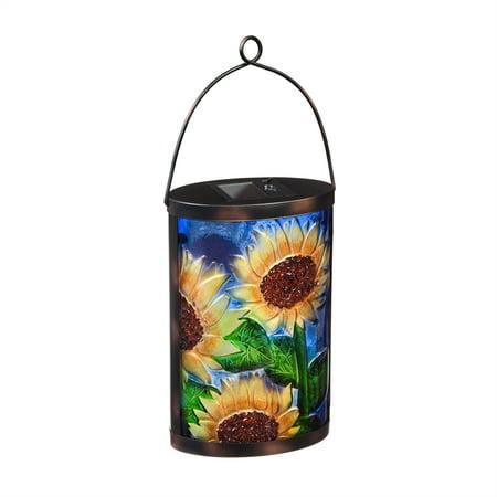 Sunflower Solar Glass Lantern -