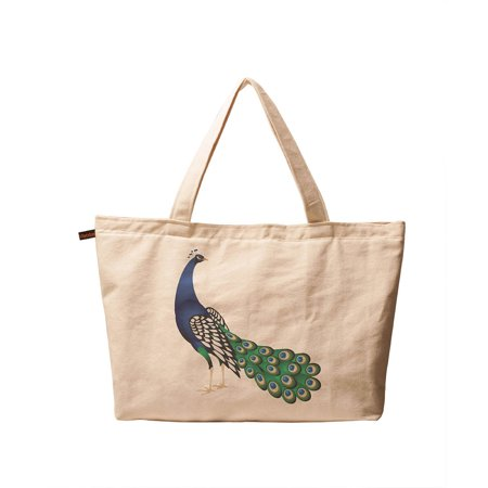 Women's The Indian Peafowl Printed Vintage Canvas Tote Shoulder Bags WAS_01 (Indian Shoulder Bag)