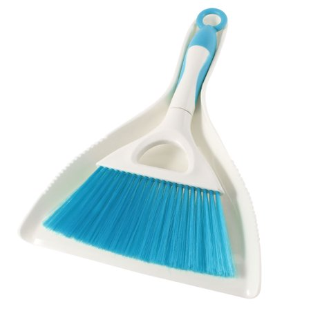 Unique Bargains Beige Teal Blue Plastic Handle Floor Sawdust Sweep Dustpan Brush