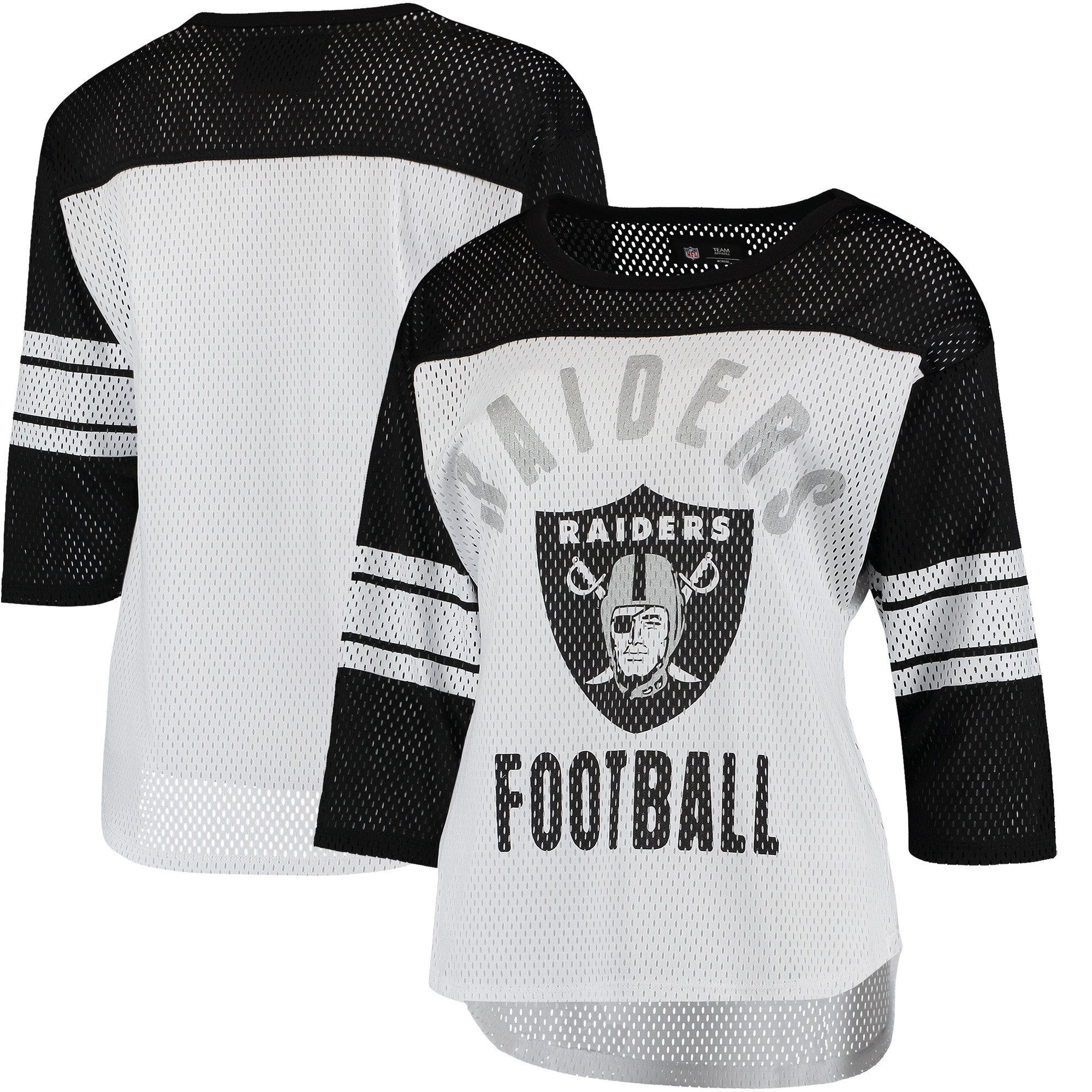 Oakland Raiders G-III 4Her by Carl Banks Women's First Team Three-Quarter Sleeve Mesh T-Shirt - White/Black