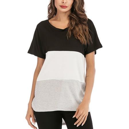LELINTA Womens Blouses & Shirts Women's Lightweight Short Sleeve Color Block Stripe Crewneck Stitching (Stripe Crewneck Top)