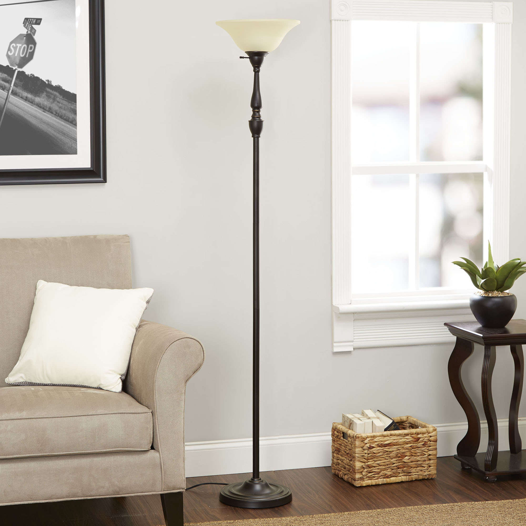 """Better Homes and Gardens 70"""" Restoration Bronze Finish Torchiere Floor Lamp by Cheyenne Products"""