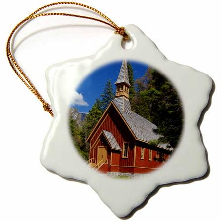 3dRose California, Yosemite Chapel in springtime - US05 BJA0492 - Jaynes Gallery - Snowflake Ornament, 3-inch
