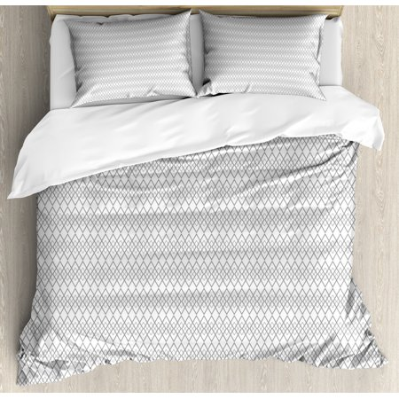 Damask Grey Duvet Cover Set, Neutral Geometric Pattern with Repetitive Chained Rhombuses as Horizontal Order, Decorative Bedding Set with Pillow Shams, Grey White, by Ambesonne