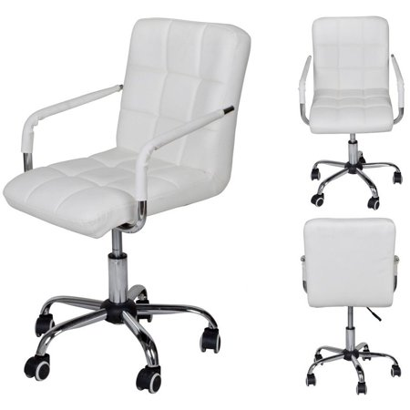 (TMS White Modern Office Executive Synthetic Leather Swivel Arms Chair Computer Desk Task)