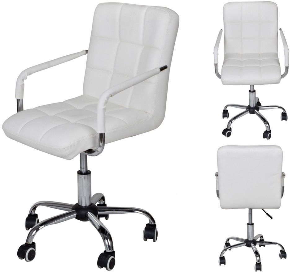 modern white office chair. TMS White Modern Office Executive Synthetic Leather Swivel Arms Chair  Computer Desk Task Modern White Office Chair