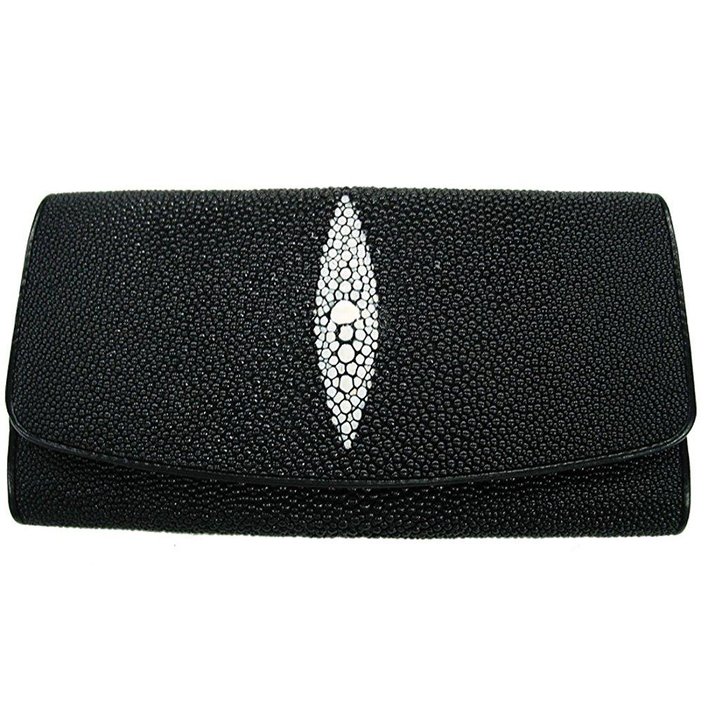 stingray leather ladies tri-fold wallet in black