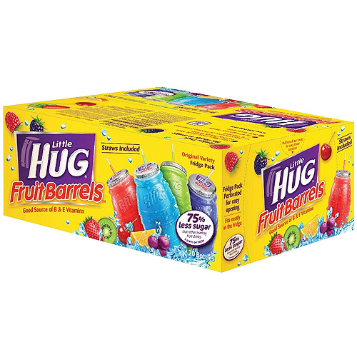 Little Hug Assortment Blue Raspberry/Grape/Orange/Punch Fruit Drinks, 20 Ct/160 fl oz