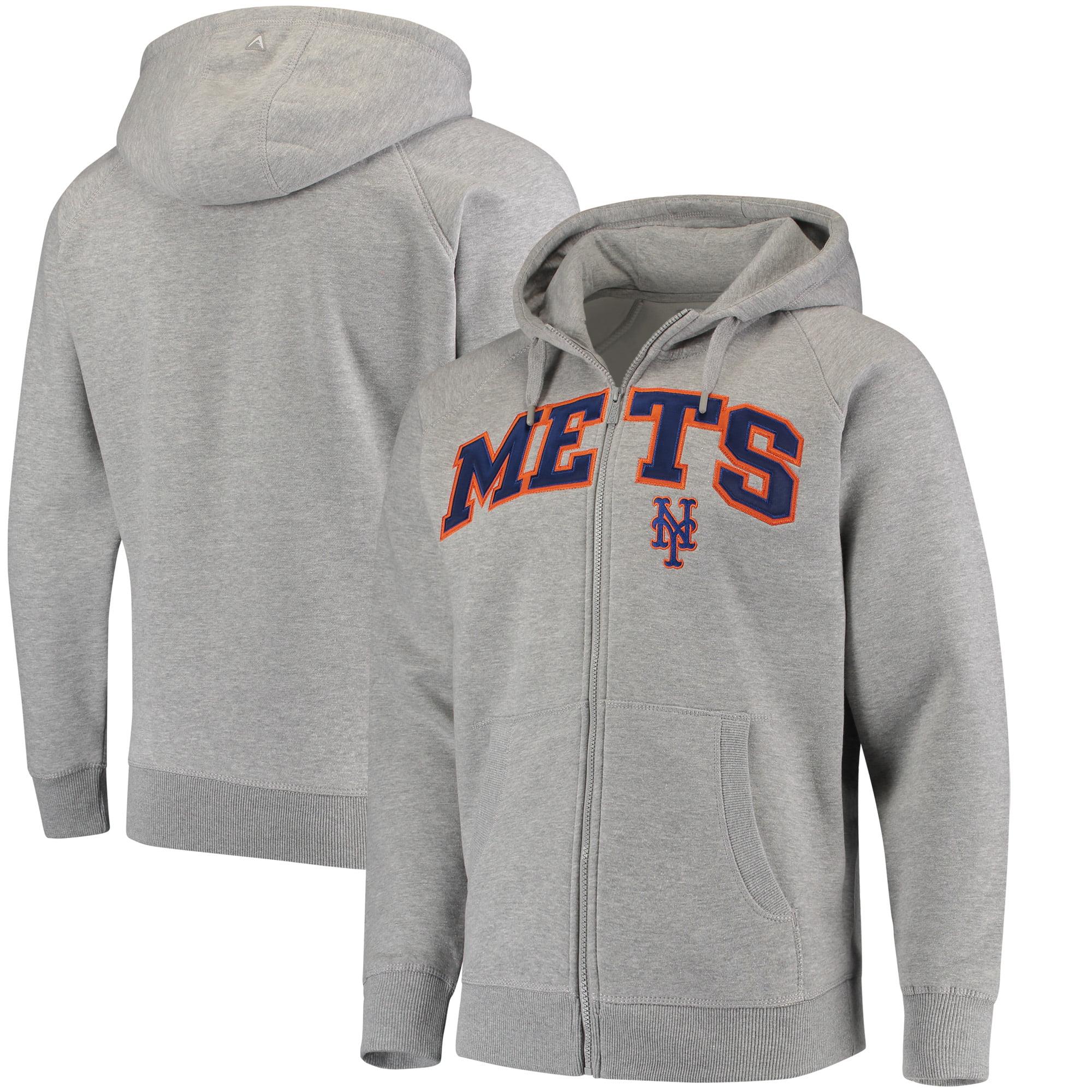 New York Mets Antigua Team Victory Full-Zip Hoodie - Heathered Gray