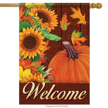 Autumn Cascade Welcome House Flag Fall Pumpkin Leaves Double Sided 28