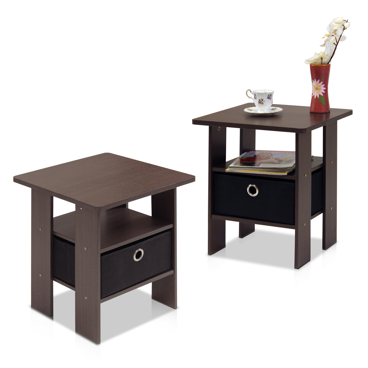Delightful Petite End Table Bedroom Night Stand With Foldable Bin Drawer, Multiple  Colors   Walmart.com
