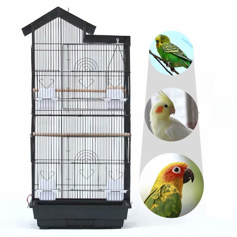 "39"" Bird Parrot Cage Canary Parakeet Cockatiel LoveBird Finch Bird Cage with Wood Perches & Food Cups... by"