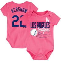 Clayton Kershaw Los Angeles Dodgers Majestic Newborn & Infant Baby Slugger Name & Number Bodysuit - Pink
