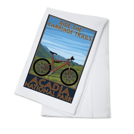 - Acadia National Park, Maine - Ride the Carriage Trails - Lantern Press Poster (100% Cotton Kitchen Towel)