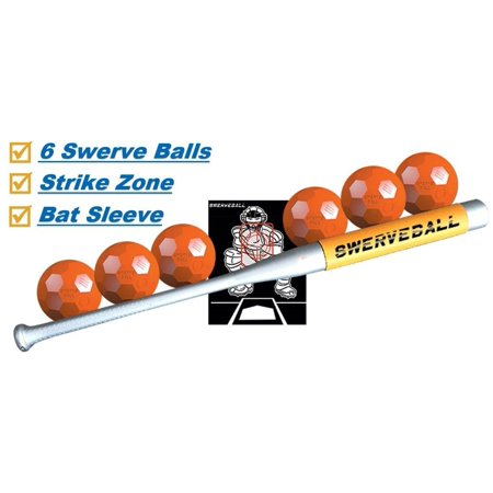 Steel Slow Pitch Bat (Swerve Ball Plastic Baseball Combo Starter Set Including 6 Swerve Balls, Strike Zone, Sweet Spot Bat Sleeve, and Swerve Ball Pitching)