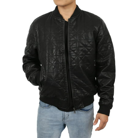 Mens Faux Leather Jacket PU Biker Rider Coat Outerwear
