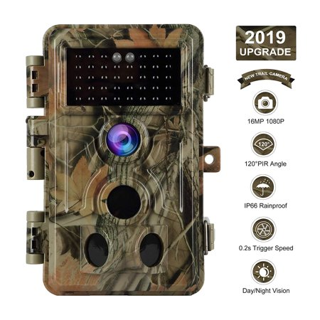 "【2019 Upgrade】 Trail Camera 16MP 1080P Game Camera with No Glow Night Vision Up to 65ft 0.2s Trigger Time Motion Activated 2.4"" Color Screen and Easy Operate Keypad Waterproof Wildlife Hunting Camera thumbnail"