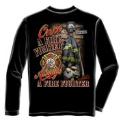 Once and Always Firefighter Long Sleeve T-shirt by , Black