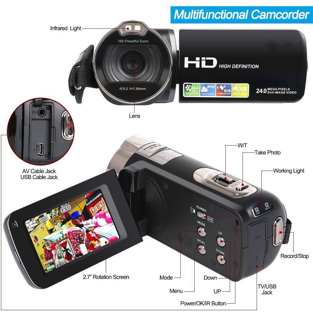 Tagital Camera Camcorder Hd 1080p 24 Mp 16x Digital Zoom Video Working Of Cameras With Lcd And 270 Degree Rotation Screen