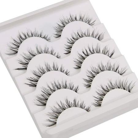False Eyelash Kit with Clamp, 10 Lashes Fake Eyelashes, Soft Flexible False Eyelashes, Entire Eyelids for Ladies Women Natural Look (5 Pairs / Box) - image 3 of 8