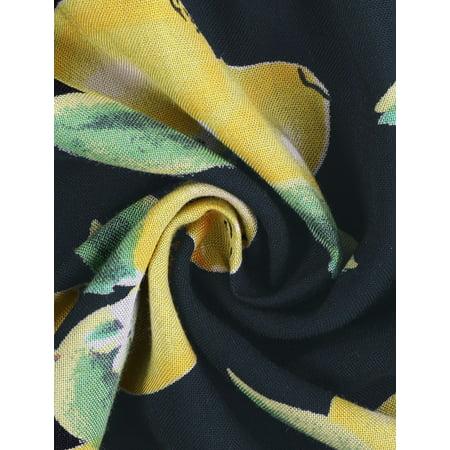 0f3c6516f57db1 Unique Bargains Women's Lace Trim Allover Printed Elastic Waist Shorts  Black (Size L / 14 ...