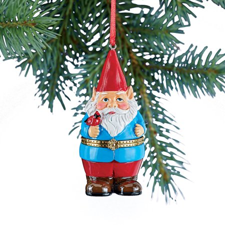 Hand Painted Trinket Christmas Ornaments with Opening Compartment for Small Gifts, Gnome