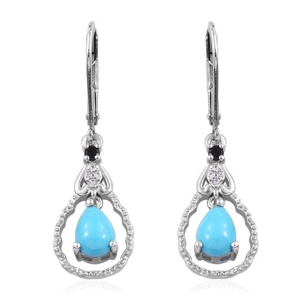 - Dangle Drop Earrings 925 Sterling Silver Platinum Plated Sleeping Beauty Turquoise Black Spinel Gift Jewelry for Women