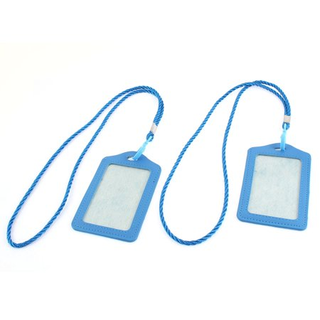 Faux Leather Vertical Design Office Business Badge Credit Card Holder Blue 2pcs