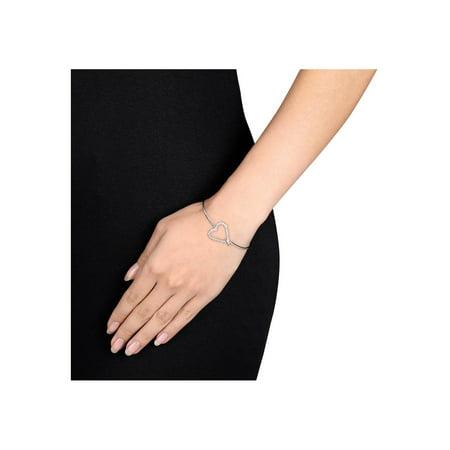 White Sapphire Heart Bangle Bracelet in Sterling Silver - image 1 de 3