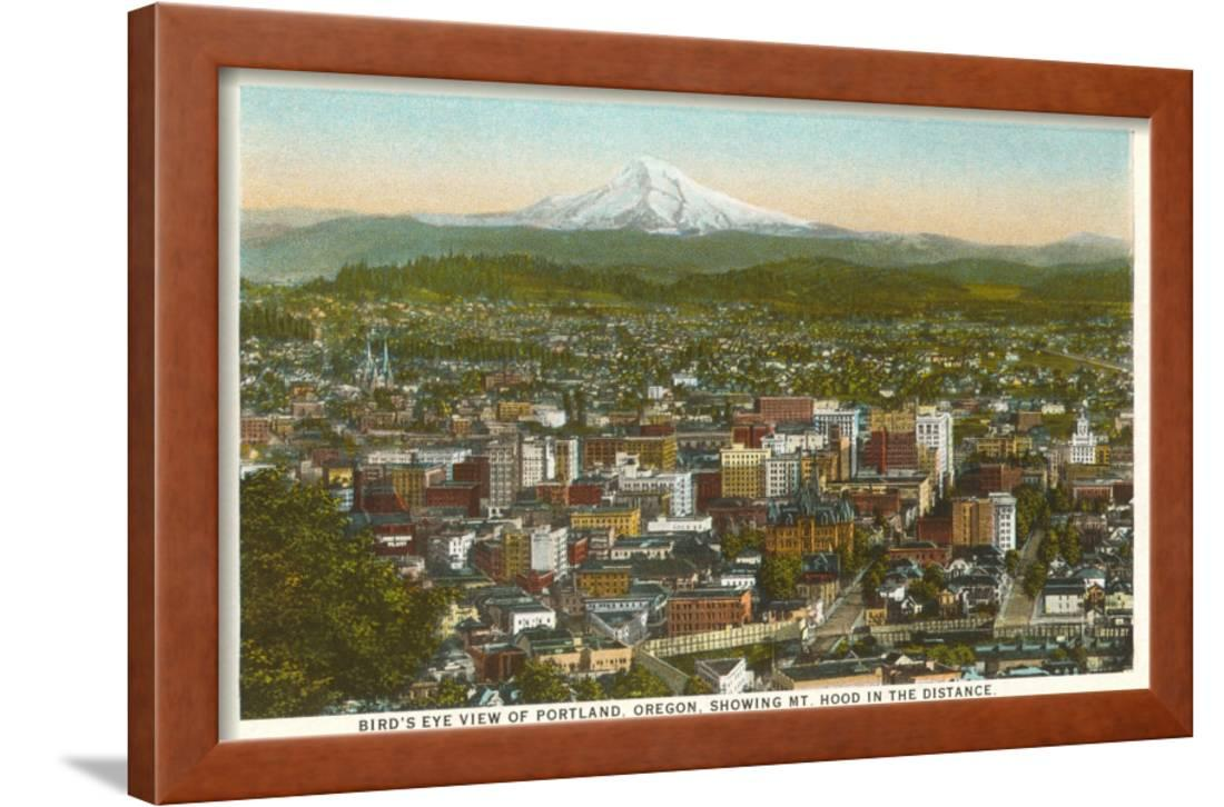Mt. Hood over Portland, Oregon Framed Print Wall Art - Walmart.com