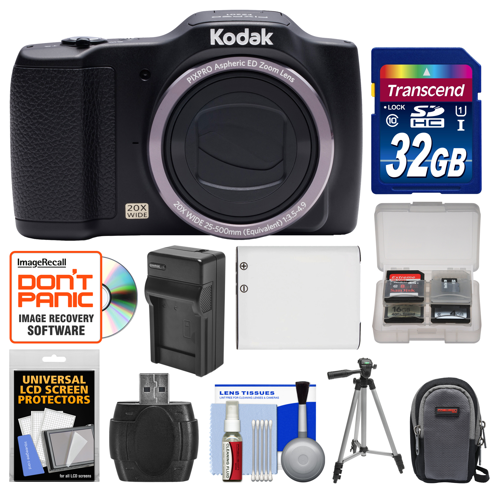 Kodak PixPro Friendly Zoom FZ201 Digital Camera with 32GB Card + Case + Battery & Charger + Tripod + Kit by Kodak