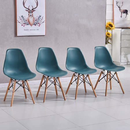 Set Of 4 Mid Century Modern Eames Style Dsw Dining Side Chair Wood Leg