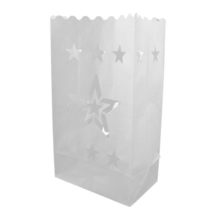 CleverDelights White Luminary Bags - 50 Count - Star Design - Flame Resistant Paper - Wedding, Reception, Party and Event Decor - Luminaria Candle - Paper Luminaries