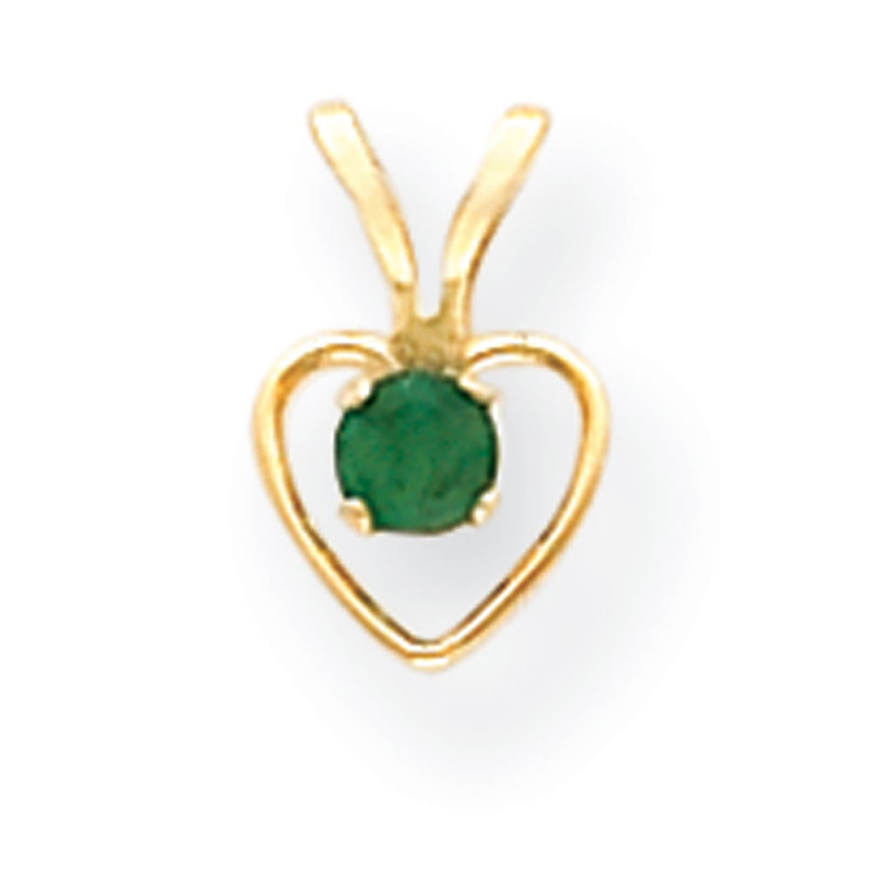 14k Yellow Gold 15in Children's 3mm Emerald Heart Birthstone Necklace