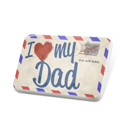 Porcelein Pin I Love my Dad, Vintage Letter Lapel Badge – NEONBLOND