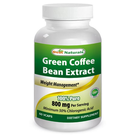 Best Naturals Green Coffee Bean Extract, 400mg per Capsule, 60 Vcaps per Bottle (Contains 800mg in Serving Size of 2