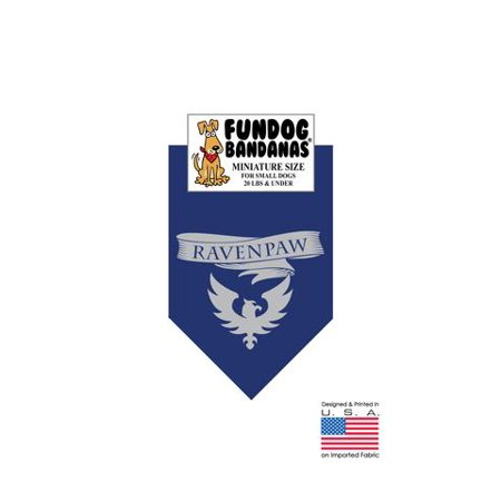 MINI Fun Dog Bandana - HP Ravenpaw - Miniature Size for Small Dogs under 20 lbs, navy blue pet scarf (Navy Blue Miniature)