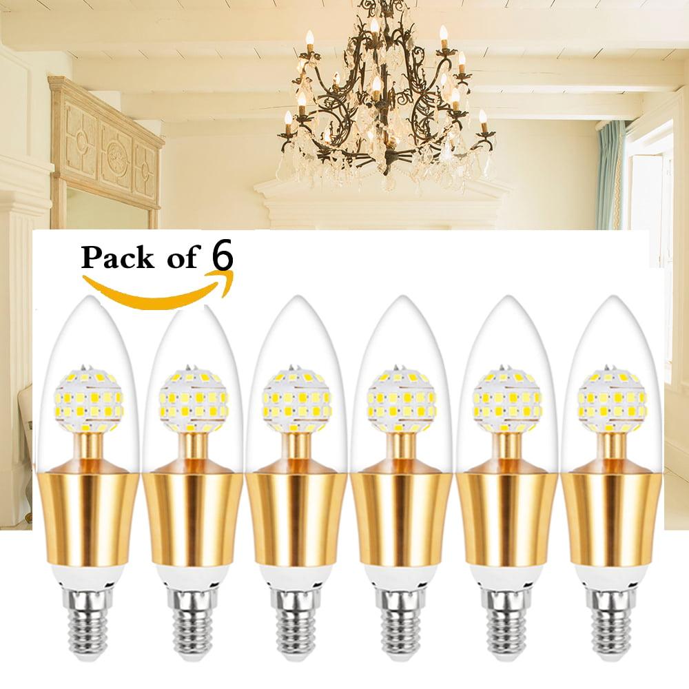 (Pack of 6)E12 Base Dimmable Candelabra LED Bulb 10Watt(100 Watt Equivalent) Decorative Candle LED For Home Lighting