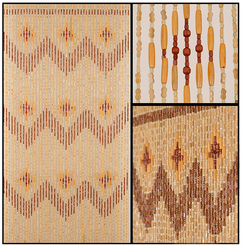 Beadedstring Wood Bamboo Beaded Curtain 45 Strands 77 High 35 5 Wide Bohemian Door Beads Garden Walmart Canada