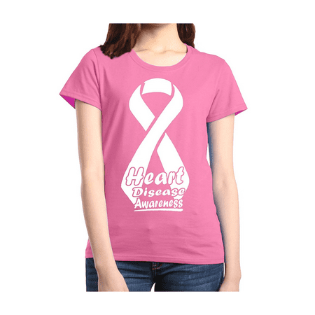Heart Disease Awareness Women's T-Shirt Ribbon Support - Womens Heart Disease Ribbon
