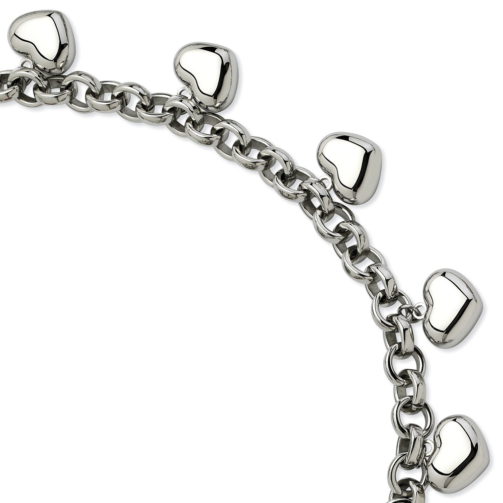 Stainless Steel Polished Hearts 8in Bracelet (8in long)