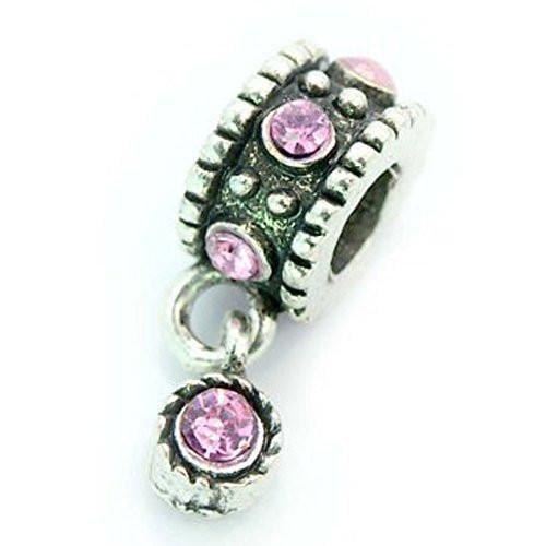 Dangle Bead W/light Pink  Rhinestones Birthstone European Bead Compatible for Most European Snake Chain Bracelet