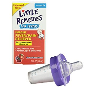 Little Remedies Fever Pain Reliever with Medicine Pacifier Dispenser, Purple
