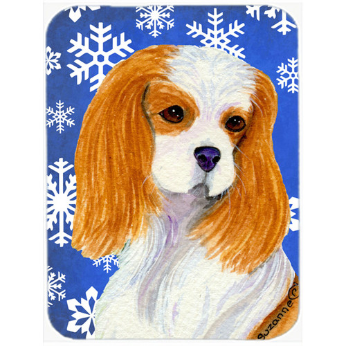 Caroline's Treasures Snowflakes Cavalier Spaniel Glass Cutting Board