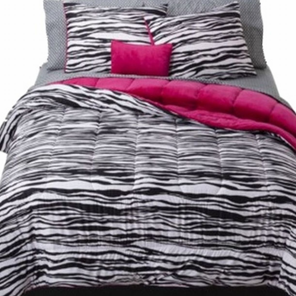 Full Bed In Bag Black Zebra Stripe Comforter Sheet Shams & Pillow