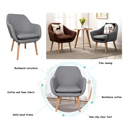 Moustache Accent Chairs Living Room Chair, Modern Fabric Sofa Arm Chair  Armchair with Cushion Seat & Beech Wood Legs (Gray)