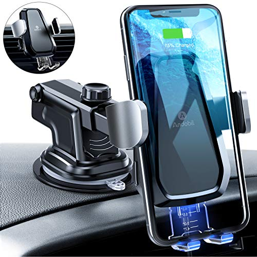 TOPK Wireless Car Charger Mount,Qi 10W 7.5W Fast Charging Car Phone Holder For Dashboard,Air Vent,Windshield,Compatible iPhone X//XR//XS//XS MAX//8//8 Puls,Samsung S10//S10+//S9//S8//S7,Note 9//8,Google Pixel 3