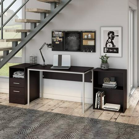 Bush Furniture Torte Computer Desk with File Cabinet and Bookcase in Espresso Oak ()