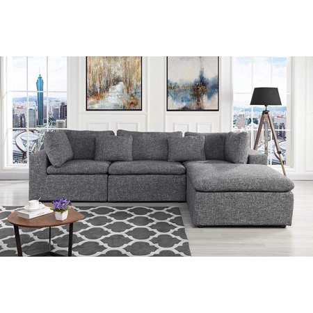 Large Linen Fabric Sectional Sofa, L Shape Couch with Wide ...