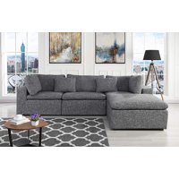 Large Linen Fabric Sectional Sofa, L Shape Couch with Wide Chaise (Light Grey)
